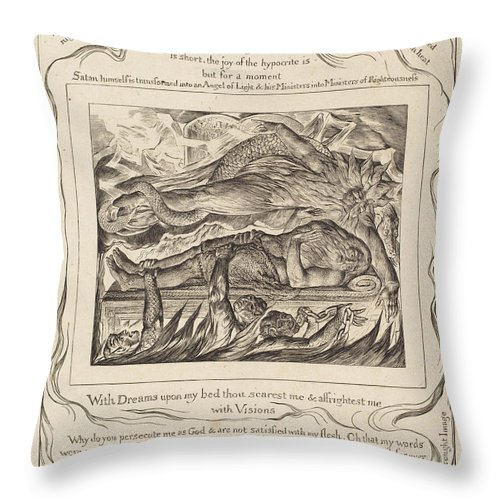 Throw Pillow featuring the drawing Job's Evil Dreams by William Blake