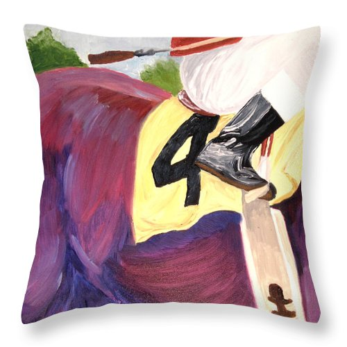 Horse Throw Pillow featuring the painting Jockey 4 by Michael Lee