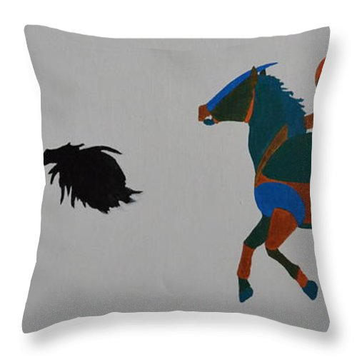 Jockey Throw Pillow featuring the painting Jockey by Vykky Gamble