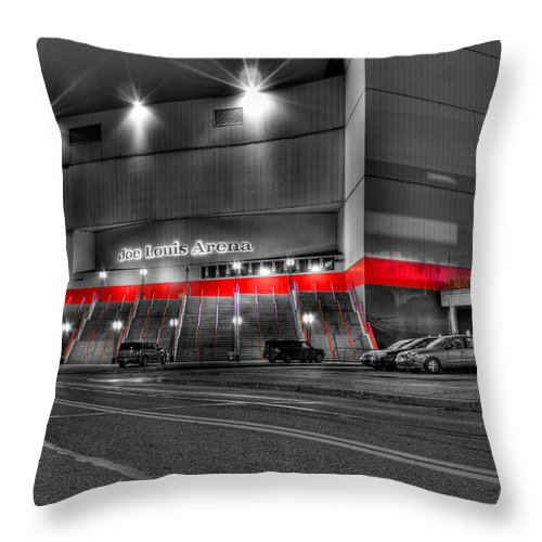 Throw Pillow featuring the photograph Joe Louis Arena Detroit MI by Nicholas Grunas