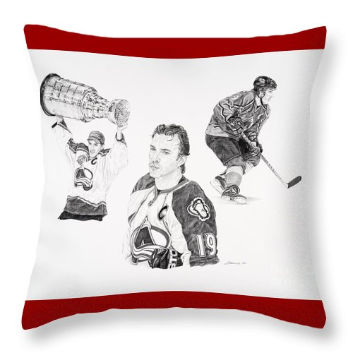 Hockey Throw Pillow featuring the drawing Joe Sakic by Shawn Stallings