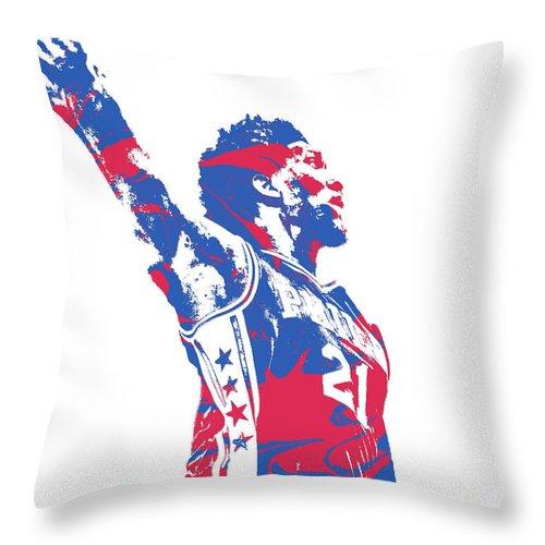 Joel Embiid Throw Pillow featuring the mixed media Joel Embiid Philadelphia Sixers Pixel Art 13 by Joe Hamilton