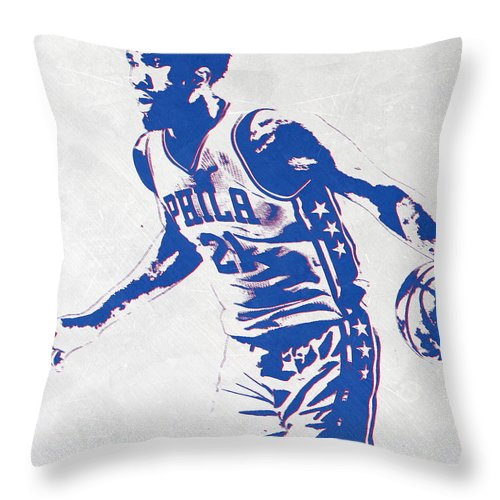 Joel Embiid Throw Pillow featuring the mixed media Joel Embiid Philadelphia Sixers Pixel Art by Joe Hamilton
