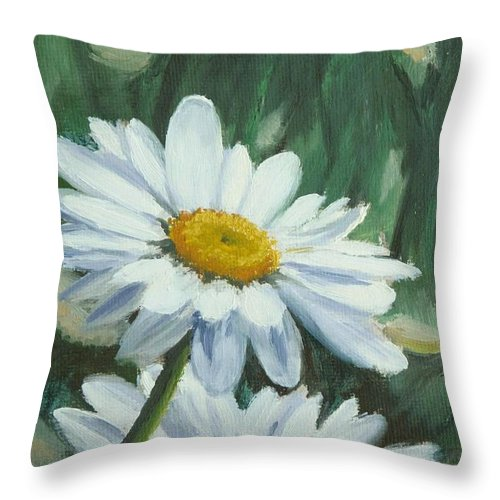 Daisy Throw Pillow featuring the painting Joe's Daisies by Lea Novak