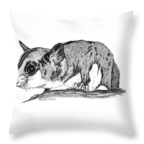 Sugar Glider Throw Pillow featuring the drawing Joey by Kristen Wesch
