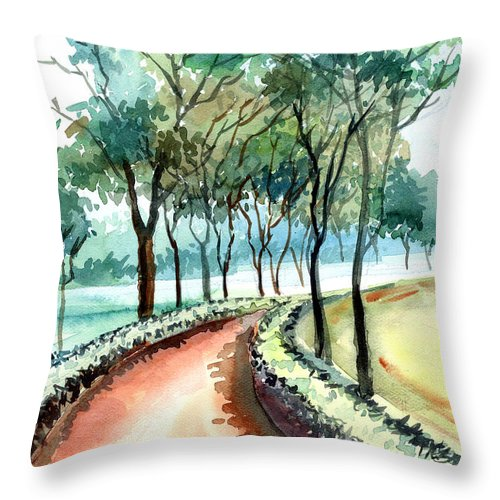Landscape Throw Pillow featuring the painting Jogging Track by Anil Nene