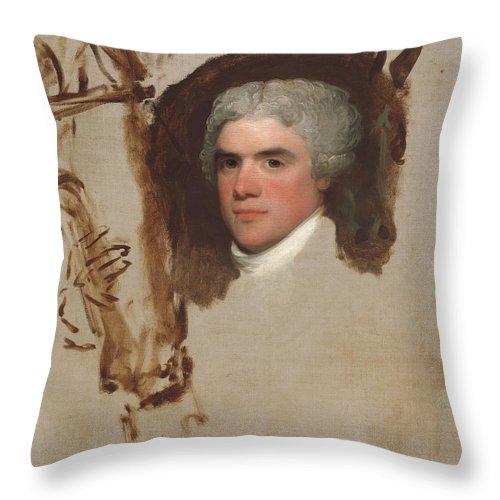 Throw Pillow featuring the painting John Bill Ricketts by Gilbert Stuart