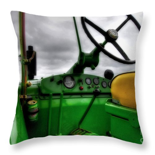 Tractors Throw Pillow featuring the photograph John Deere 830 Dash by Trey Foerster
