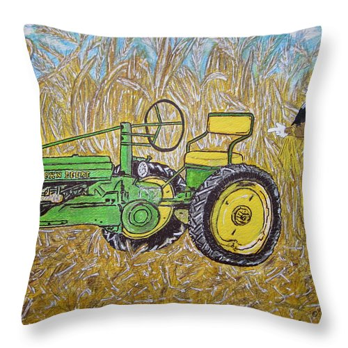 John Deere Throw Pillow featuring the painting John Deere Tractor And The Scarecrow by Kathy Marrs Chandler