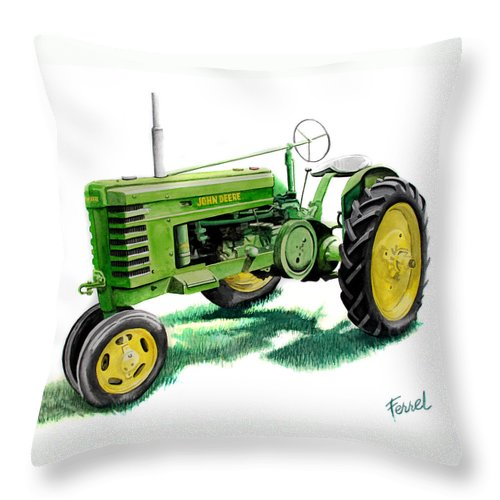 John Deere Tractor Throw Pillow featuring the painting John Deere Tractor by Ferrel Cordle
