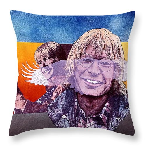 John Denver Throw Pillow featuring the mixed media John Denver by John D Benson