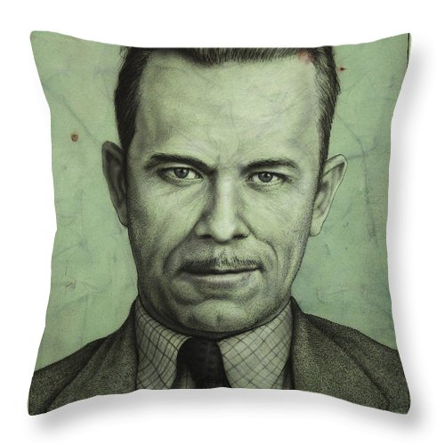 John Dillinger Throw Pillow featuring the painting John Dillinger by James W Johnson