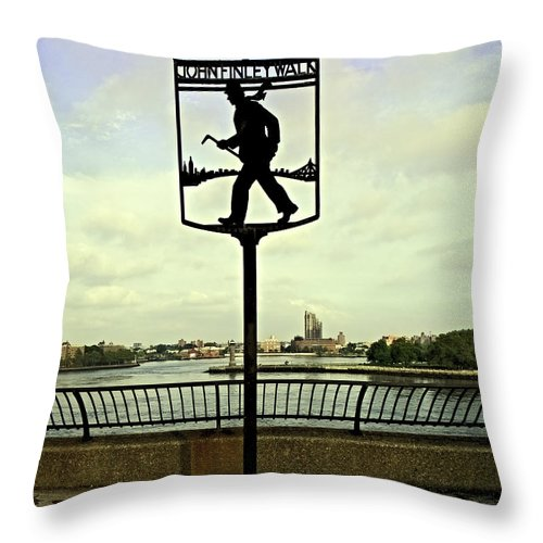 East River Throw Pillow featuring the photograph John Finley Walk II by Madeline Ellis