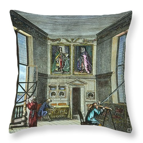 Astronomer Throw Pillow featuring the photograph John Flamsteed, C. 1700 by Granger