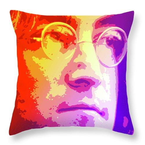John Lennon Throw Pillow featuring the digital art John Lennon by Greg Joens