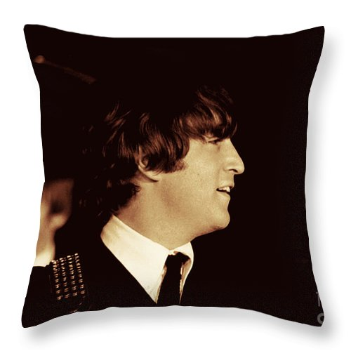 Beatles Throw Pillow featuring the photograph John Lennon by Larry Mulvehill