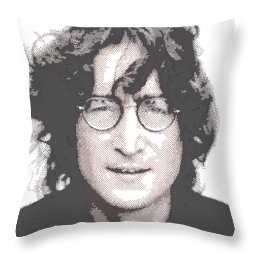 John Throw Pillow featuring the drawing John Lennon - Parallel Hatching by Samuel Majcen
