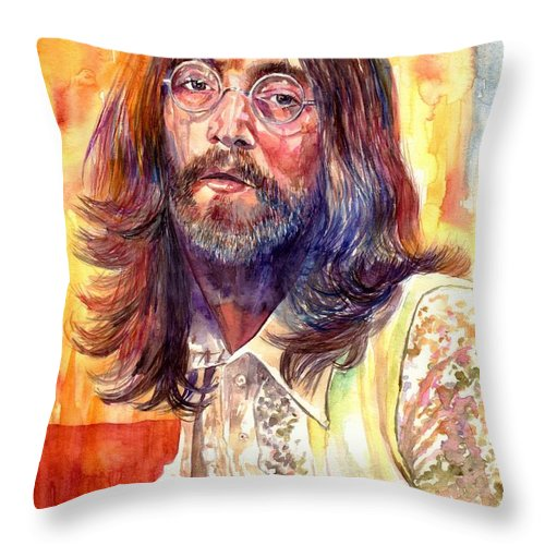 John Lennon Throw Pillow featuring the painting John Lennon watercolor by Suzann Sines