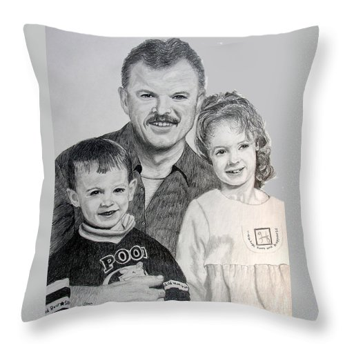 Portrait Throw Pillow featuring the drawing John Megan And Joey by Stan Hamilton