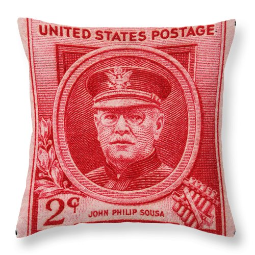 John Philip Sousa Postage Stamp Throw Pillow featuring the photograph John Philip Sousa Postage Stamp by James Hill
