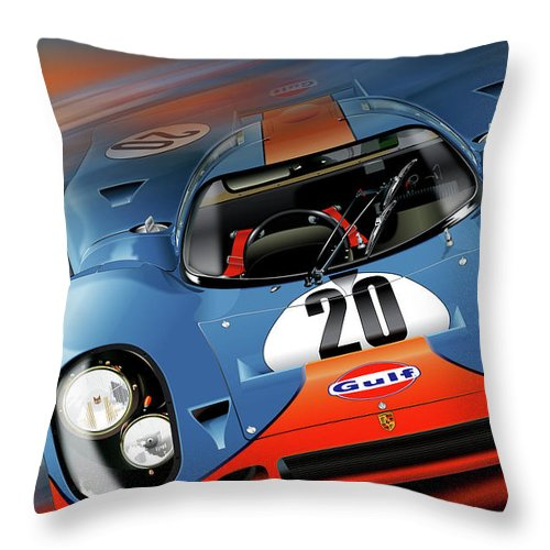 John Wyer's Gulf Porsche 917 Throw Pillow featuring the digital art John Wyer's Gulf Porsche 917 by Alain Jamar