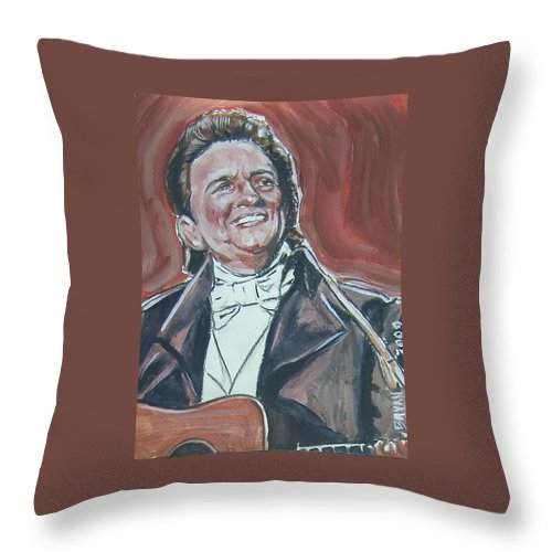 Johnny Cash Throw Pillow featuring the painting Johnny Cash by Bryan Bustard