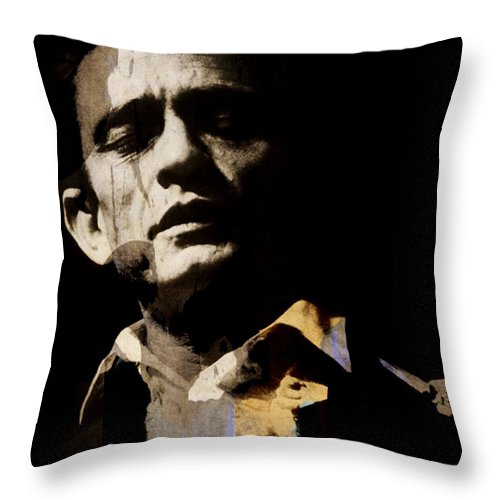 Johnny Cash Throw Pillow featuring the digital art Johnny Cash - I Walk The Line by Paul Lovering