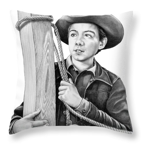 Pencil Throw Pillow featuring the drawing Johnny Crawford-Mark McCain by Murphy Elliott