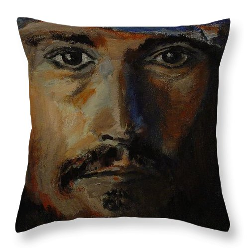 Johnny Depp Throw Pillow featuring the painting Johnny Depp Savvy by Regina Brandt
