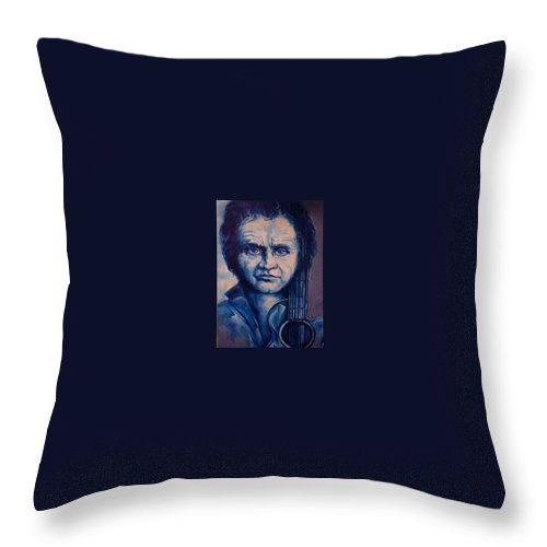 Johnny Cash Original Painting Throw Pillow featuring the painting Johnny by Lloyd DeBerry