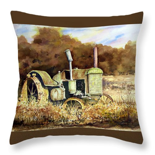 Tractor Throw Pillow featuring the painting Johnny Popper by Sam Sidders