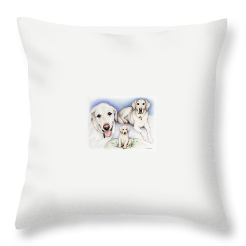 Dog Throw Pillow featuring the drawing Johns Henry by Amy S Turner