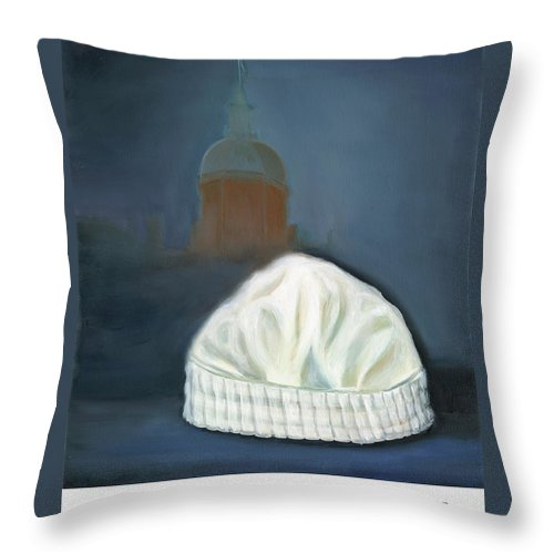 Nursing Throw Pillow featuring the painting Johns Hopkins University School Of Nursing by Marlyn Boyd