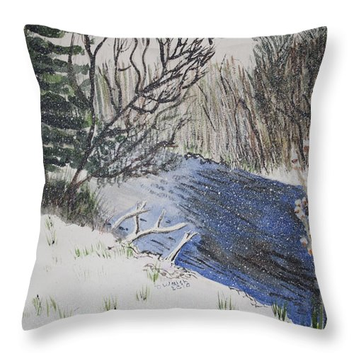 Landscapes Throw Pillow featuring the painting Johnson Vermont In Spring Snow Storm by Donna Walsh