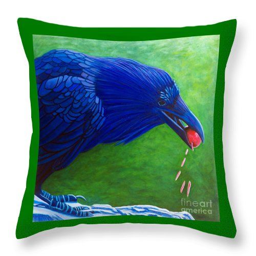 Raven Throw Pillow featuring the painting Joie De Vivre by Brian Commerford
