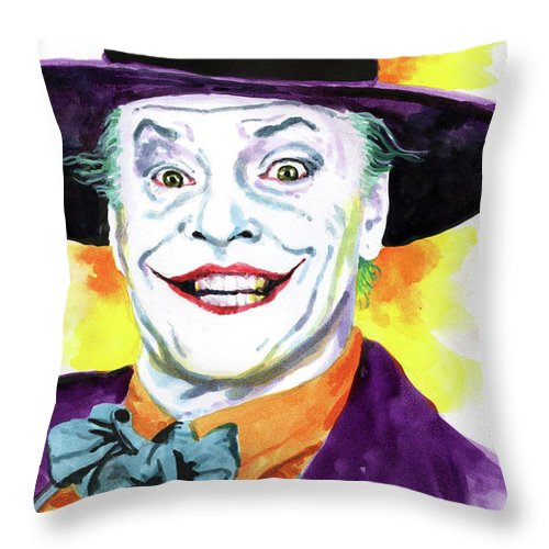 Joker Throw Pillow featuring the painting JokerNicholson by Ken Meyer jr