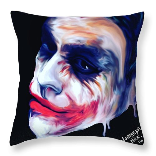 Comic Throw Pillow featuring the digital art Joke's On You by Nicole Brulatour
