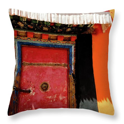 Tibet Throw Pillow featuring the photograph Jokhang Temple Door Lhasa Tibet Artmif.lv by Raimond Klavins