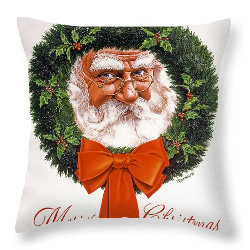 Santa Throw Pillow featuring the painting Jolly Old Saint Nick by Richard De Wolfe