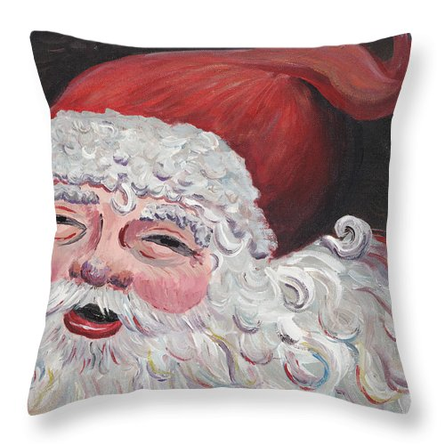 Santa Throw Pillow featuring the painting Jolly Santa by Nadine Rippelmeyer