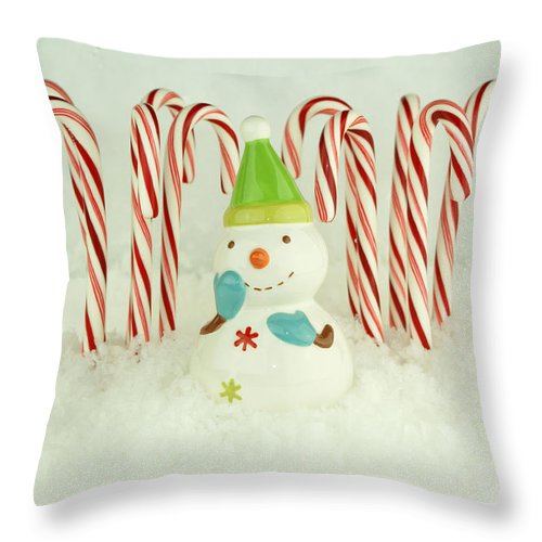 Snow Throw Pillow featuring the photograph Jolly The Snowman II by Valerie Fuqua