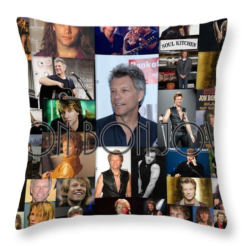 jon bon jovi collage throw pillow for sale by april cook