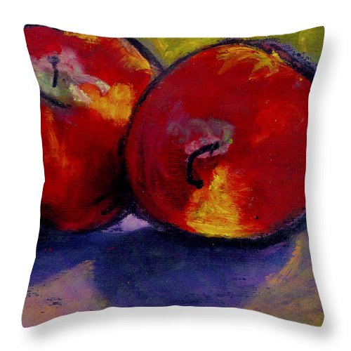 Fruit Throw Pillow featuring the painting Jonathan Apples by Angelina Marino
