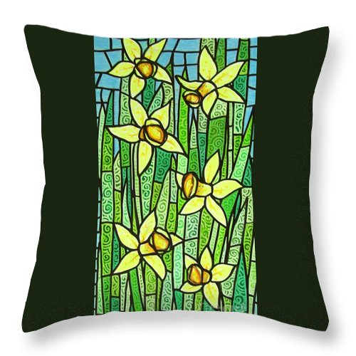 Jonquils Throw Pillow featuring the painting Jonquil Glory by Jim Harris