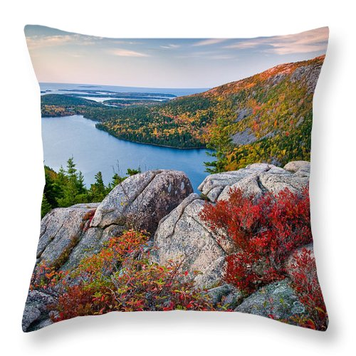Acadia National Park Throw Pillow featuring the photograph Jordan Pond Sunrise by Susan Cole Kelly
