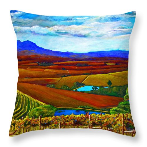 Vineyard Throw Pillow featuring the painting Jordan Vineyard by Michael Durst
