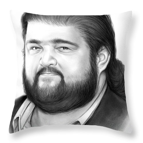 Jorge Garcia Throw Pillow featuring the drawing Jorge Garcia by Greg Joens