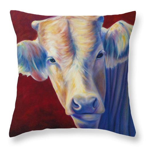 Bull Throw Pillow featuring the painting Jorge by Shannon Grissom