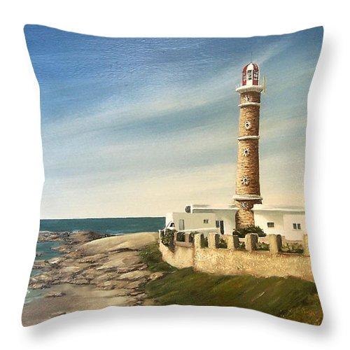 Landscape Seascape Lighthouse Uruguay Beach Sea Water Throw Pillow featuring the painting Jose Ignacio Lighthouse Evening by Natalia Tejera