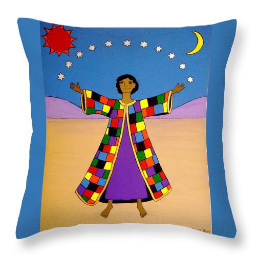 Joseph Throw Pillow featuring the painting Joseph And His Coat Of Many Colours by Stephanie Moore